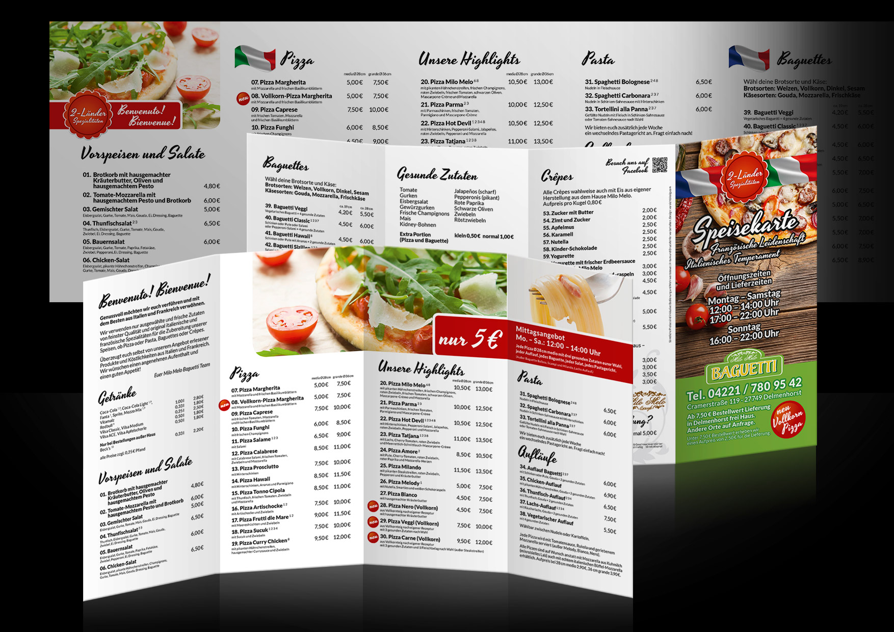 Werbung-Speisekarte-Pizzeria-Baguetti-Delmenhorst