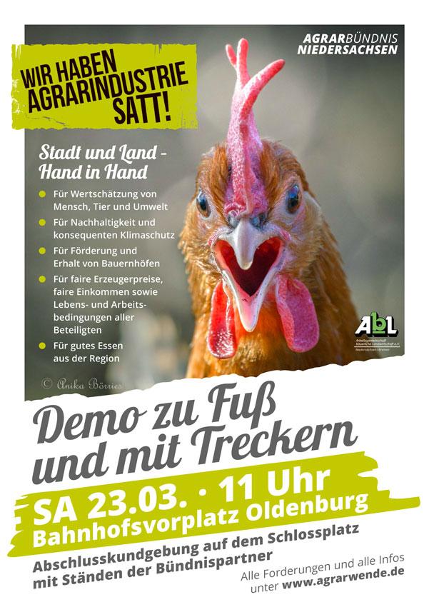 Design Plakat Demo Wir haben Agrarindustrie satt