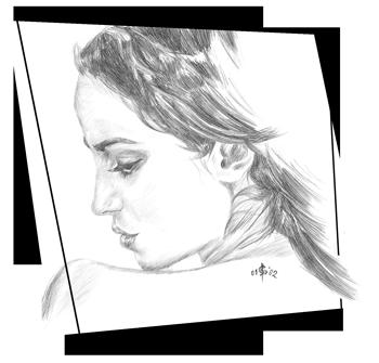 Zeichnung Profil einer Frau