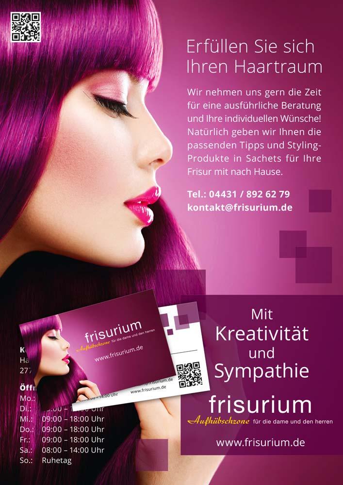 frisurium Wildeshausen Design Plakat Visitenkarte